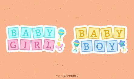 Conjunto de letras lindo bebé nuevo
