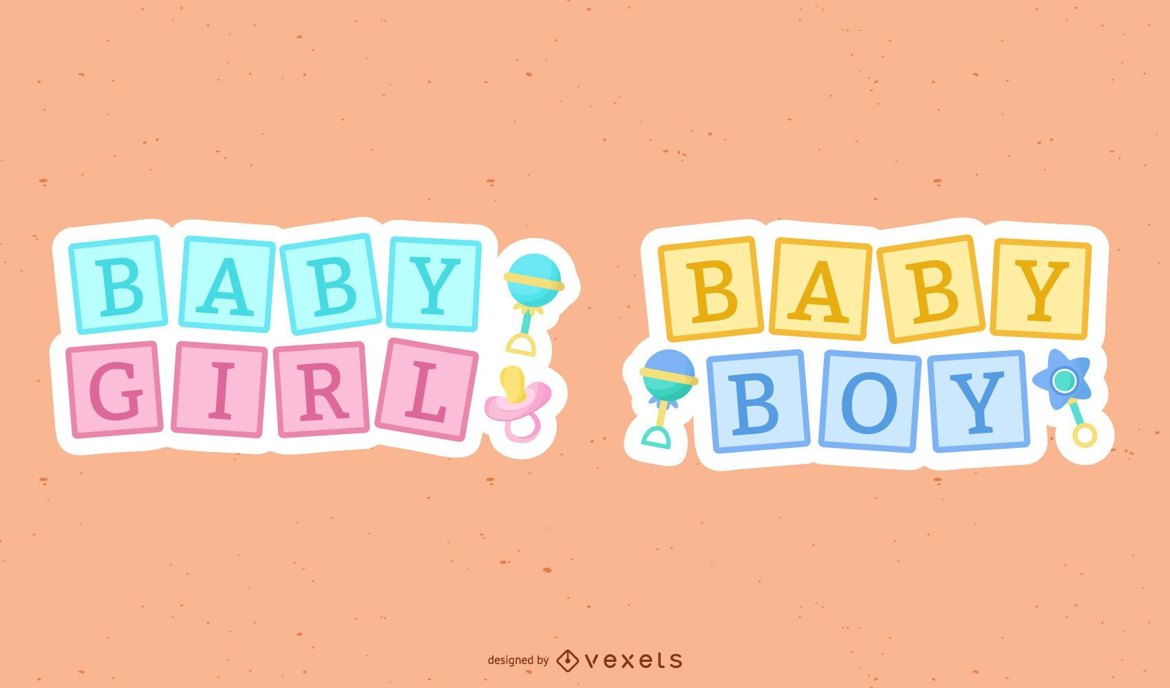 New baby cute lettering set