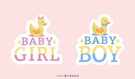 Bebê menina e bebê menino adesivo conjunto