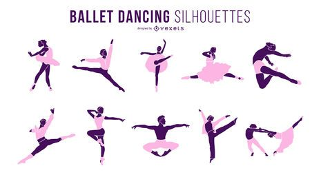 Ballet Dancer Dancing Silhouette Set