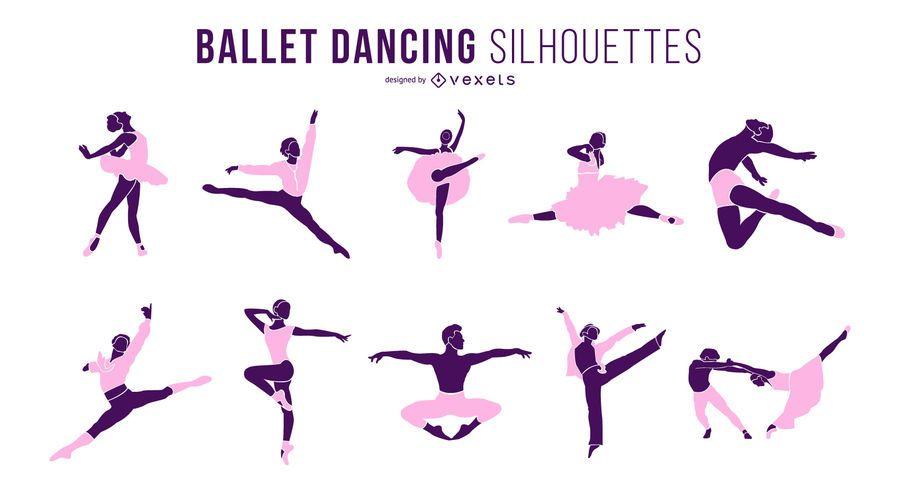 Conjunto de silhueta de dança de dançarina de balé