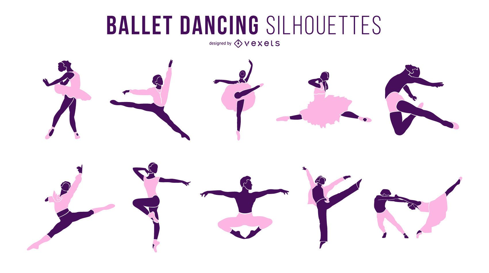 Ballet Dancer Dancing Silhouette Set
