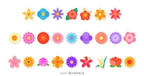 Conjunto de vectores planos de flores