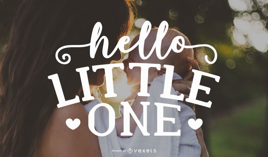 Hello Little One Lettering Background Design