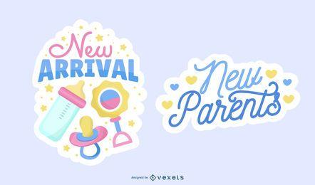 Nuevo conjunto de etiquetas de llegada de bebé