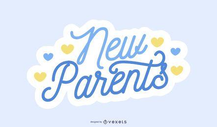 Projeto de rotulação azul dos pais novos