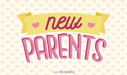 Design de letras rosa para novos pais
