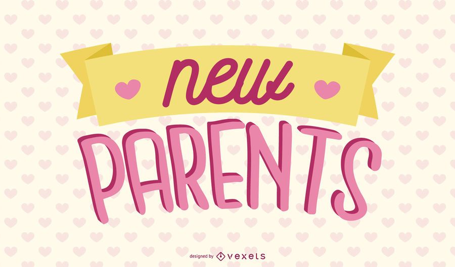 New Parents Pink Lettering Design