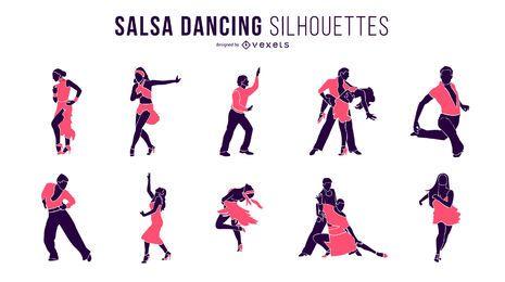 Silhuetas de dança salsa