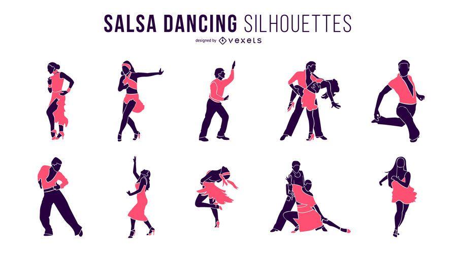 Siluetas de baile de salsa
