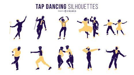 Conjunto de silueta de baile de tap