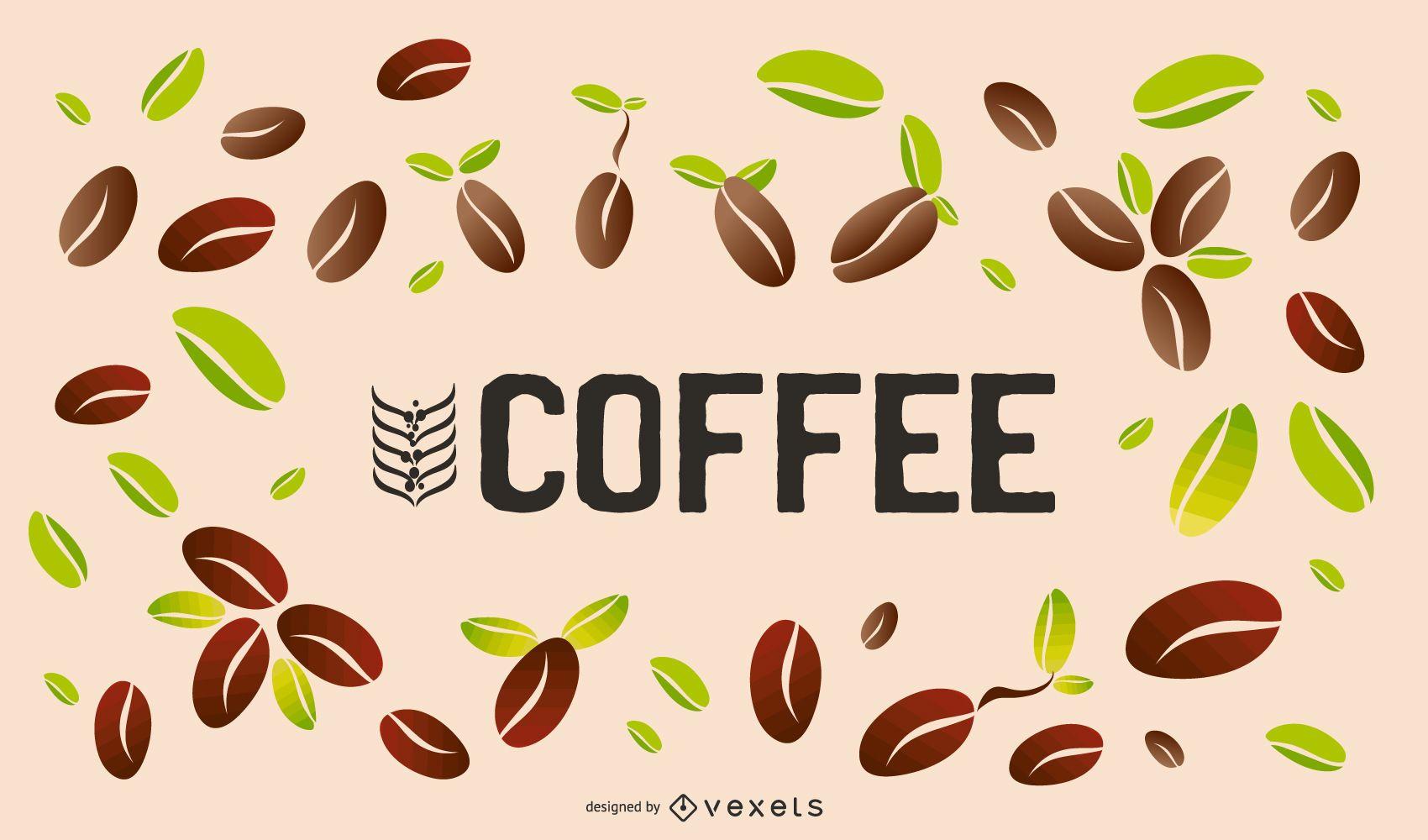 Kaffeebohnen-Hintergrunddesign