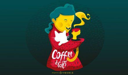 Kaffee- und Katzenillustrationsdesign