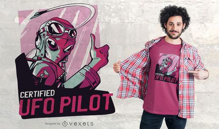 Projeto estrangeiro do t-shirt do UFO do estrangeiro