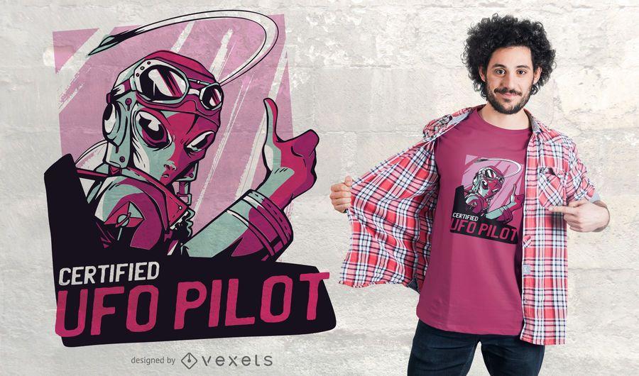 Alien UFO Pilot T-shirt Design