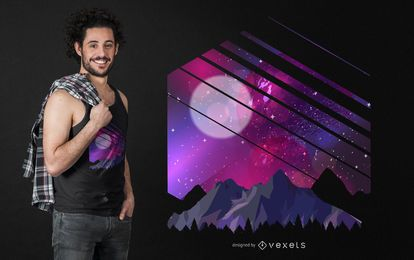 Gebirgsgalaxie-T-Shirt Entwurf
