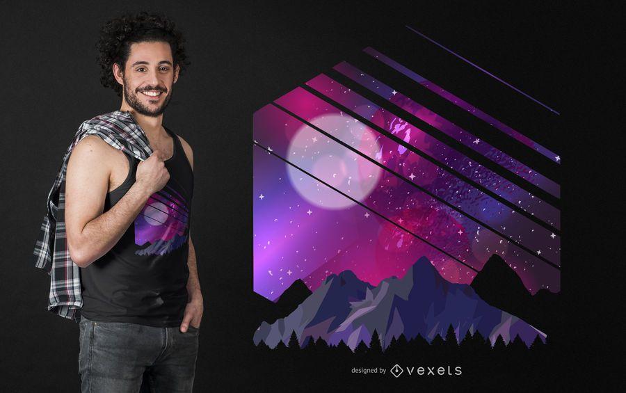 Projeto do t-shirt da galáxia da montanha