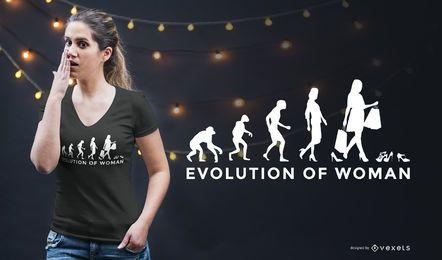Design de camisetas engraçadas de evolução feminina