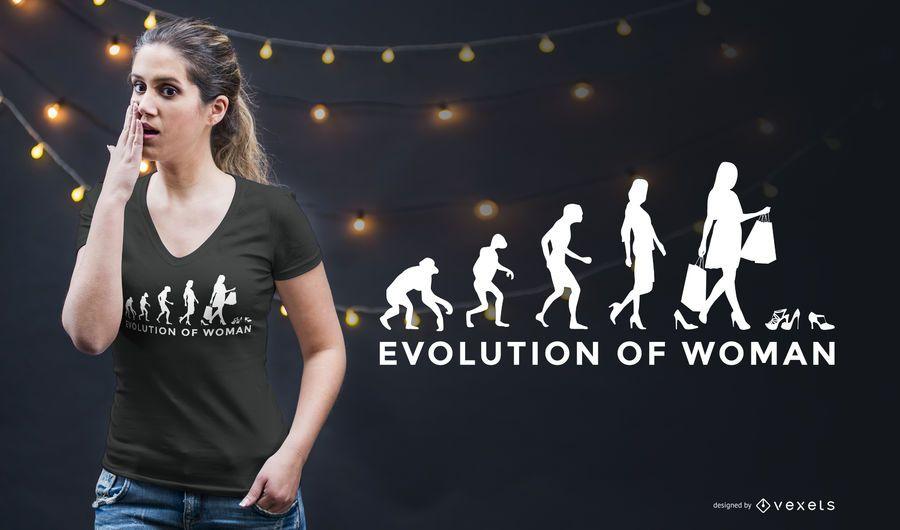 Diseño divertido de la camiseta de la evolución femenina
