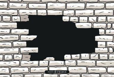 Vetor de parede de tijolo em ruínas