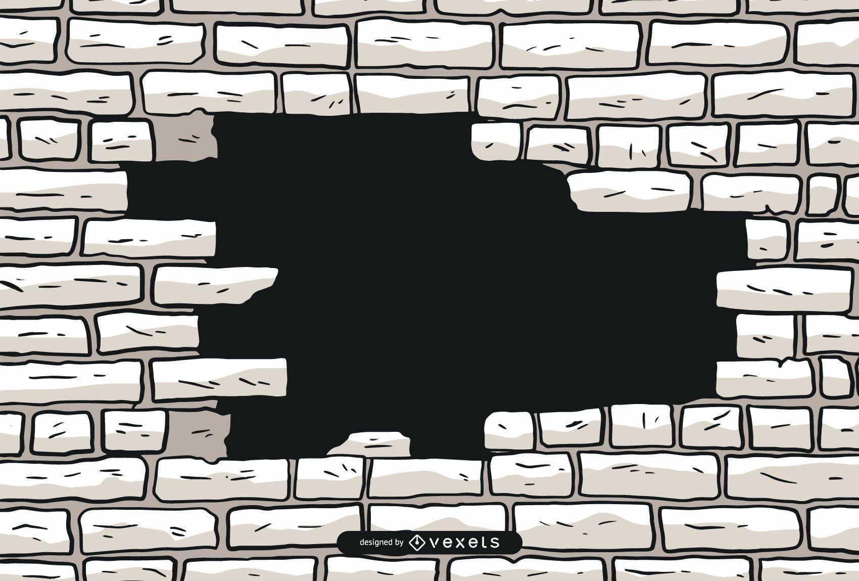 Crumbling Brick Wall Vector