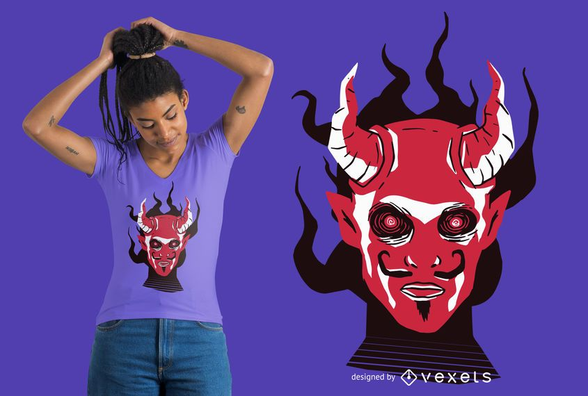Devil Face T-shirt Design