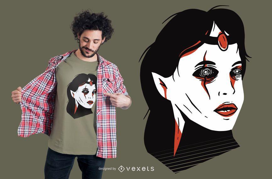 Design de t-shirt de cabeça de bruxa