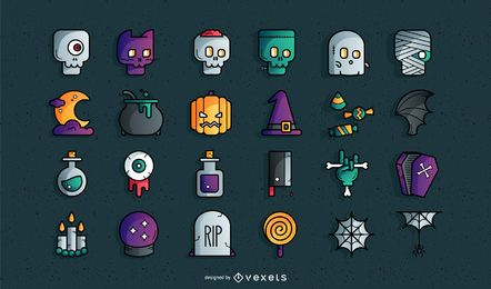 Halloween farbige Icon-Set