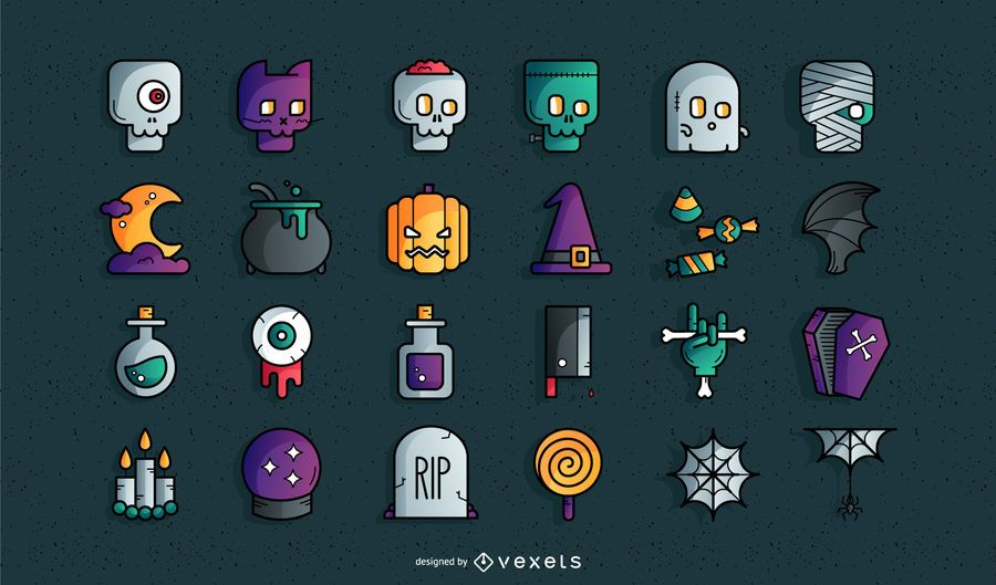 Conjunto de iconos de colores de Halloween