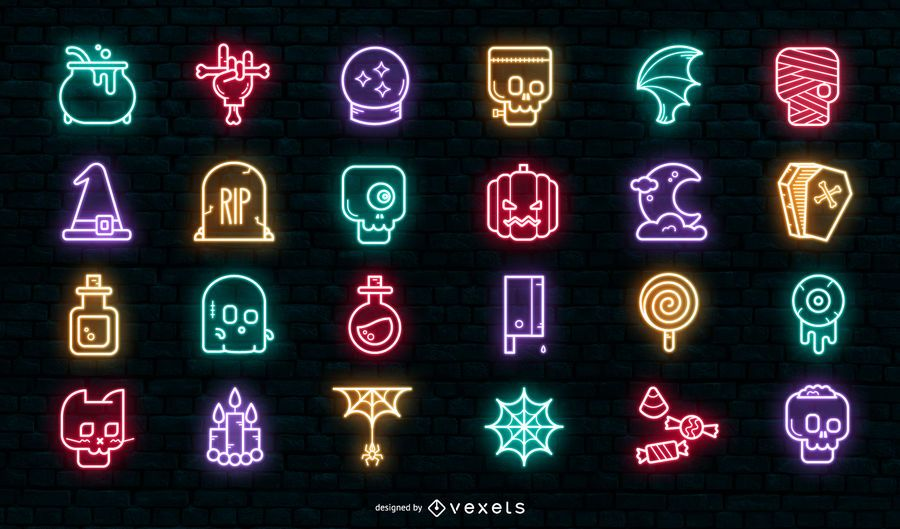 Conjunto de ícones de halloween de néon