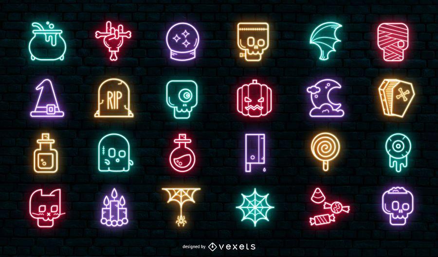 Conjunto de iconos de neón de halloween