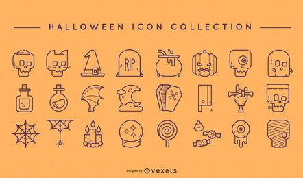 Halloween doodle icon set