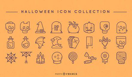 Halloween-Gekritzelikonensatz