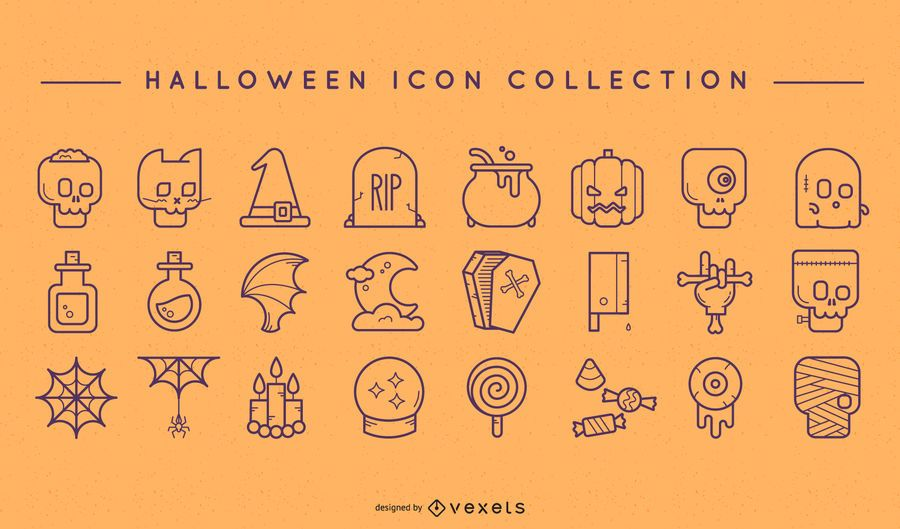 Conjunto de ícones de doodle de Halloween