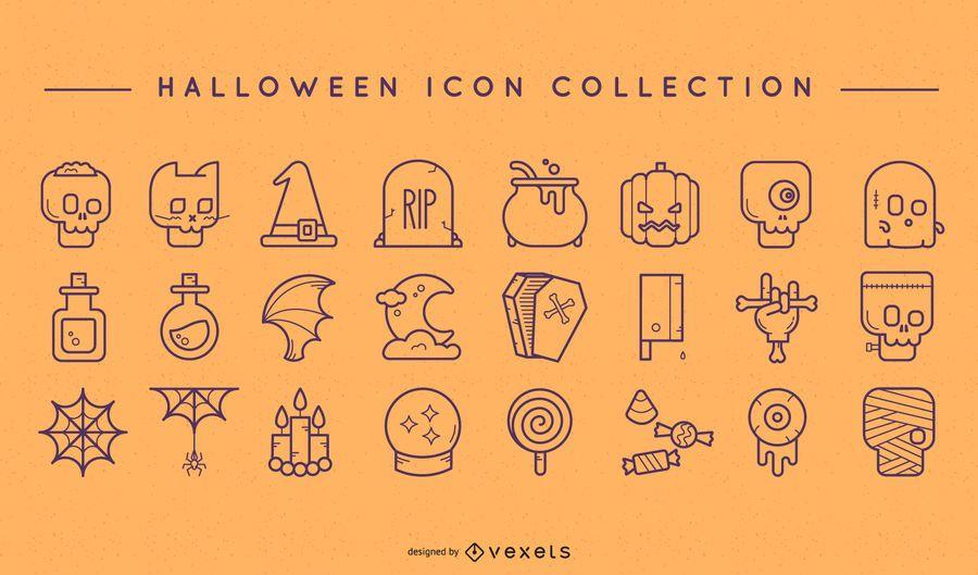 Conjunto de iconos de doodle de Halloween