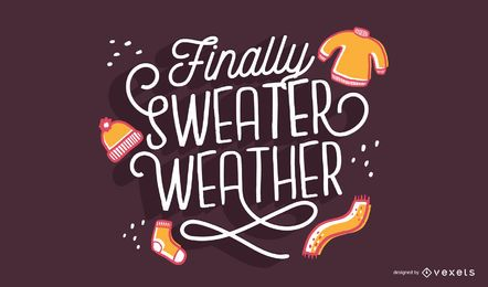 Letras de otoño suéter clima