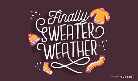 Letras de outono de tempo de camisola