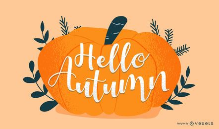 Autumn pumpkin lettering design