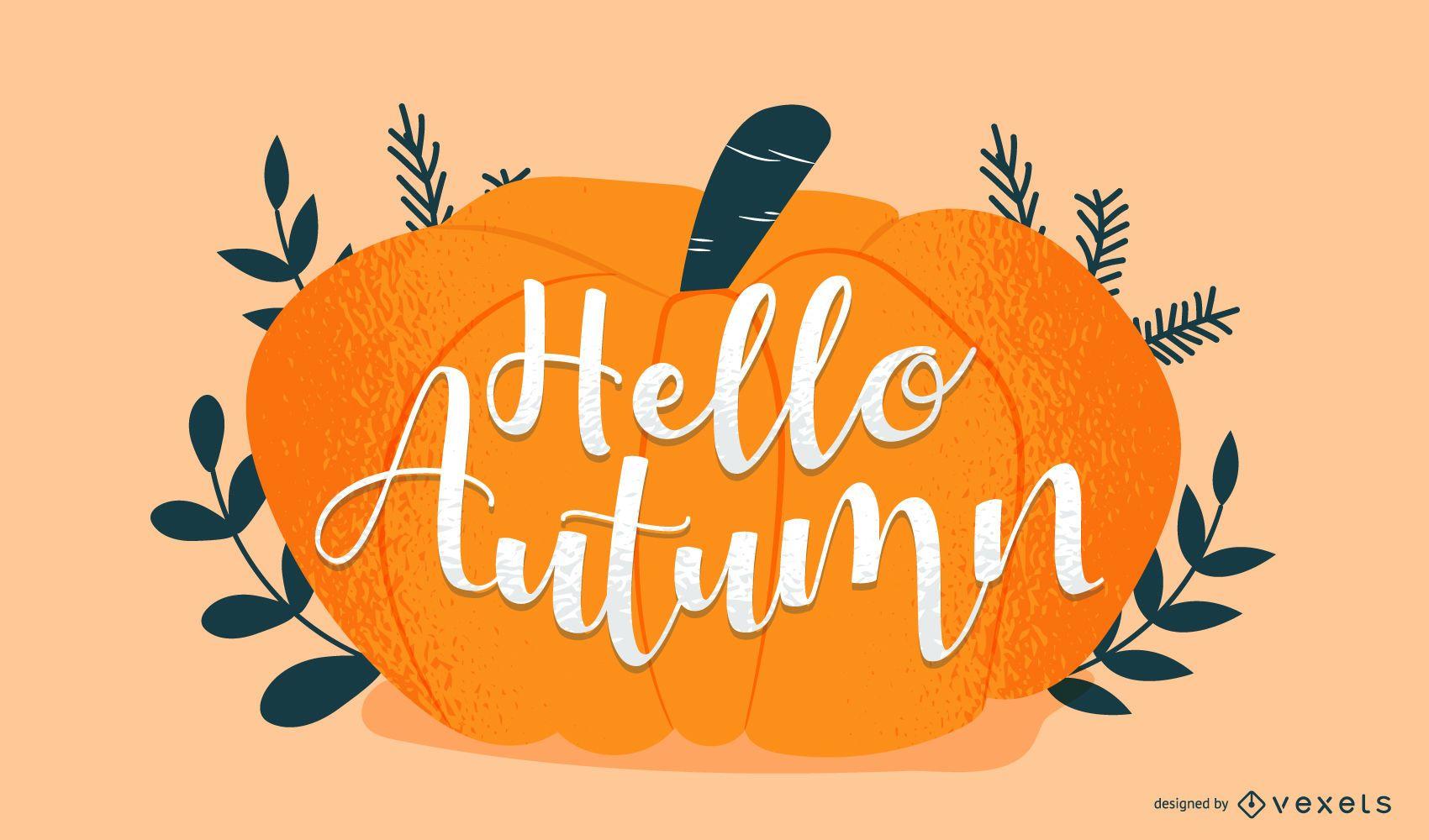 Autumn pumpkin lettering design