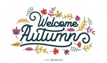 Letras de boas-vindas das folhas de outono
