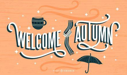 Bienvenido otoño diseño de letras retro