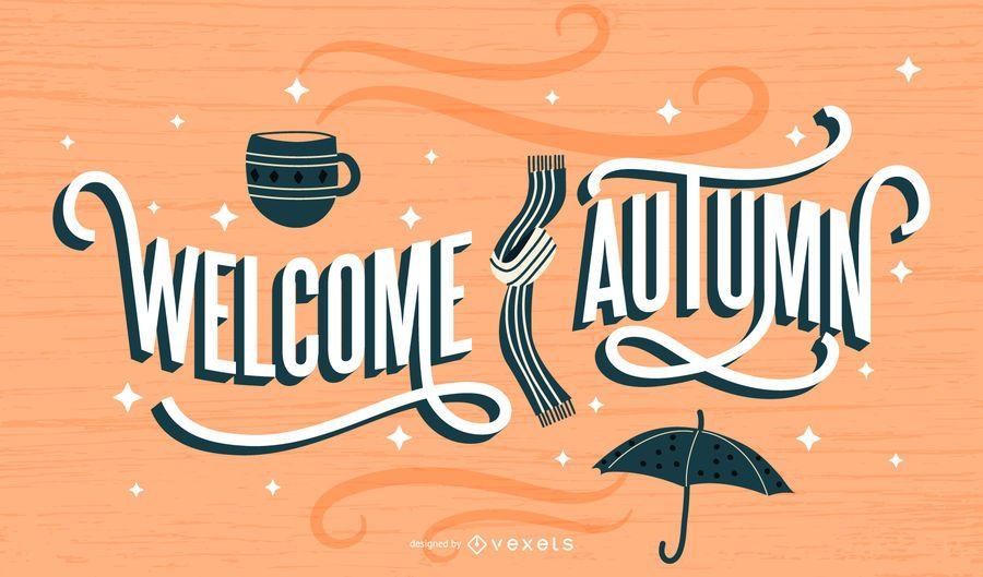 Bem-vindo outono design de letras retrô
