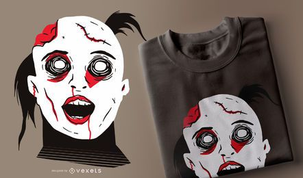 Diseño de camiseta de niña zombie de miedo
