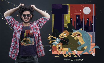 Design engraçado do t-shirt do homem-lobo