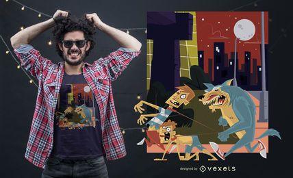 Diseño divertido de la camiseta del hombre lobo