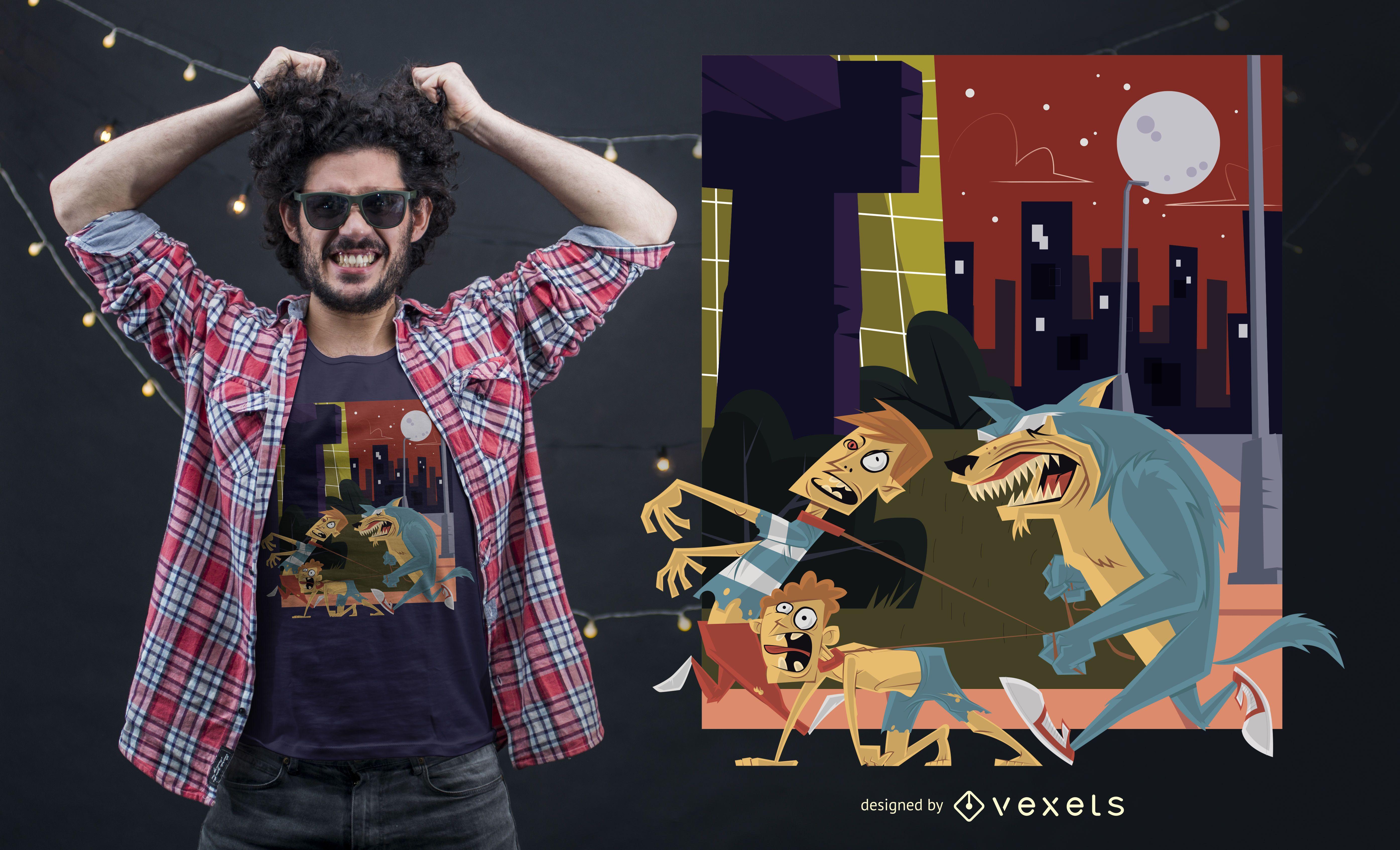 Funny Werewolf T-shirt Design