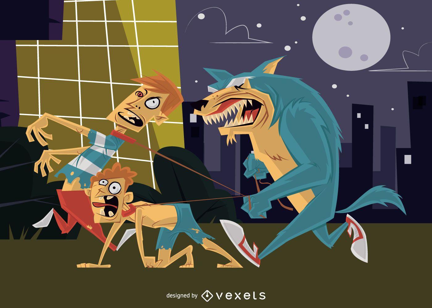 Werewolf human pet halloween illustration