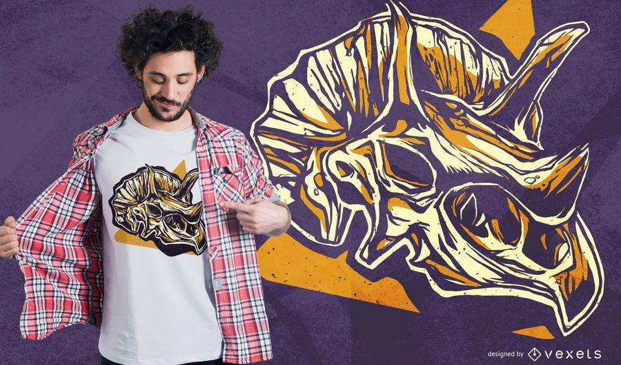 Projeto do t-shirt do crânio do Triceratops