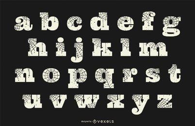 Alfabeto en minúsculas de tela de araña de Halloween