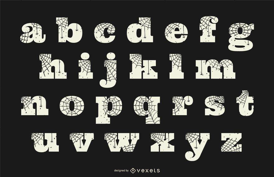 Alfabeto en minúsculas de telaraña de Halloween